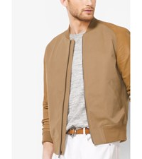 Leather Sleeve Cotton Twill Baseball Jacket