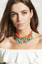 Forever 21 Tribal Woven Statement Necklace Orange Multi