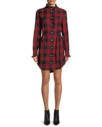 Frame Long Sleeve Button Front Flannel Check Shirtdress Red Pattern