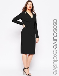 Asos Curve Longsleeve Bodycon Dress With Plunge In Crepe Black