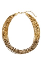 Tasha Seed Bead Multistrand Short Necklace Antique Gold Gold