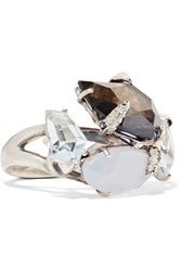 Alexis Bittar Sterling Silver Multi Stone Ring Metallic