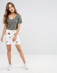 New Look Floral Embroidered Skirt White Pattern