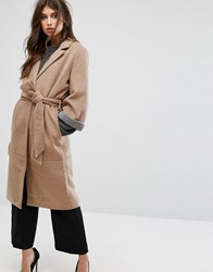 Y.A.S Belted 3 4 Sleeve Coat Tan