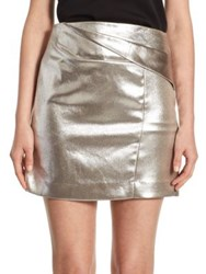 Halston Faux Wrap Draped Mini Skirt Metallic Fog