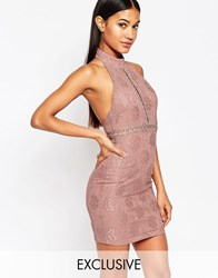 Naanaa Lace Pencil Dress With High Neck Duskyviolettaupe