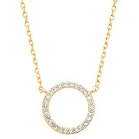 Estella Bartlett Large Cubic Zirconia Pave Circle Pendant Necklace Gold