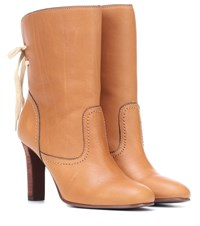 See By Chloe Leather Ankle Boots Brown