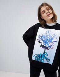 Weekday Oversized Printed Sweatshirt Black