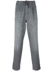 Brunello Cucinelli Drawstring Straight Jeans Grey