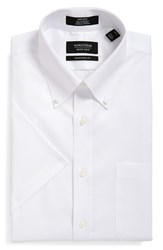 Men's Nordstrom Men's Shop Traditional Fit Non Iron Short Sleeve Dress Shirt White