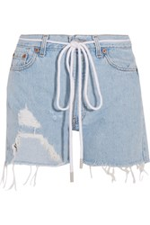 Off White Distressed Denim Shorts Light Denim