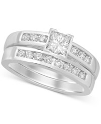 Macy's Diamond Princess Cut Bridal Set 9 10 Ct. T.W. In 14K White Gold