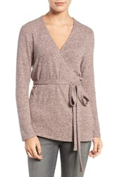 Trouve Women's Wrap Sweater Pink Peach Heather