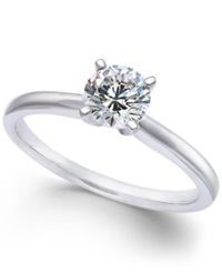 Macy's Diamond Solitaire Engagement Ring In 14K White Gold 3 4 Ct. T.W. No Color