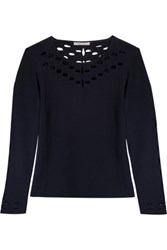Maje Mathilde Open Knit Trimmed Stretch Knit Sweater Midnight Blue