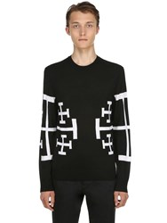 Neil Barrett Stars Jacquard Wool Knit Sweater Black White