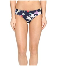 Seafolly Flower Festival Ruched Side Retro Bottom Indigo Women's Swimwear Blue