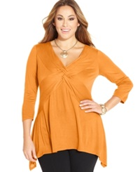 Ny Collection Plus Size Three Quarter Sleeve Twist Front Top