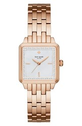 Women's Kate Spade New York 'Washington' Square Bracelet Watch 25Mm Rose Gold Mother Of Pearl
