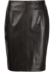 Alexandre Vauthier Leather Pencil Skirt Black