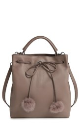 Louise Et Cie Large Yvette Genuine Rabbit Fur And Leather Bucket Bag Grey Mink