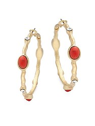 Kenneth Jay Lane Coral Cabochon Hoop Earrings 2 Gold
