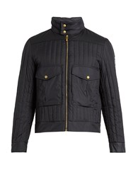 Moncler Gamme Bleu Hooded Contrast Panel Down Coat Navy