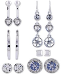 Guess Silver Tone 6 Pc. Set Crystal Earrings