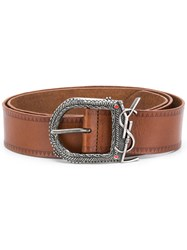 Saint Laurent Embossed Belt Leather Brown
