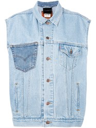 Erika Cavallini Sleeveless Denim Jacket Women Cotton One Size Blue