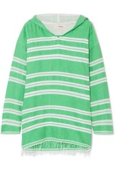 Lemlem Doro Frayed Striped Cotton Blend Gauze Hoodie Light Green
