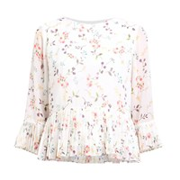 Paisie Floral Blouse With Pleated Hem And Sleeves