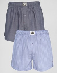 Levi's Levis Chambray Stripe Woven Boxers In 2 Pack Blue Blue