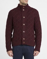Armor Lux Burgundy Cable Knit Wool Cardigan