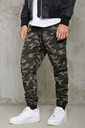 Forever 21 Camo Print Cargo Joggers Olive Black