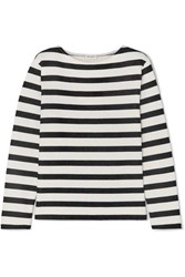 Saint Laurent Striped Loopback Cotton Jersey Sweatshirt Ivory