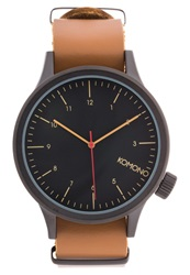 Komono Magnus Watch Black Cognac Brown