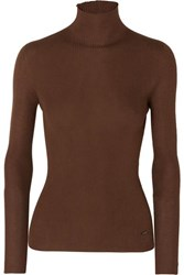 Akris Ribbed Cashmere And Mulberry Silk Blend Turtleneck Sweater Brown