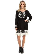 Scully Ebony Embroidery And Lace Trim Dress Black Women's Dress