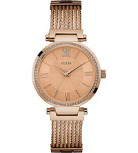 Guess W0638l4 Soho Rose Gold Rectangle Bracelet Watch