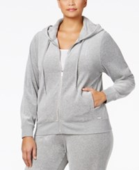 Calvin Klein Plus Size Zip Front Velour Hooded Jacket Heather Granite