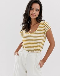 Esprit Stripe Crew Neck T Shirt With Turn Up Sleeve Yellow