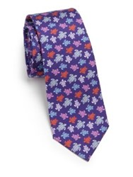 Vilebrequin Multicolored Turtle Silk Tie Purple