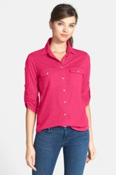 Sandra Ingrish Three Quarter Roll Sleeve Knit Shirt Pink