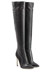 Sergio Rossi Leather And Mesh Over The Knee Boots Black