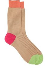 Richard James Colorblocked Mid Calf Socks Nude