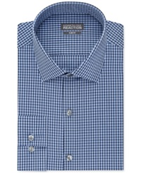Kenneth Cole Reaction Slim Fit Blue Check Performance Dress Shirt