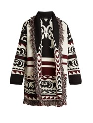 Etro Tribal Embroidered Fringe Trimmed Wool Cardigan Black White