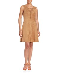 Design Lab Lord And Taylor Faux Suede Lace Up Dress Tan